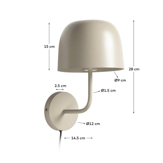 Kave Home Wandlamp 'Alish', kleur Beige