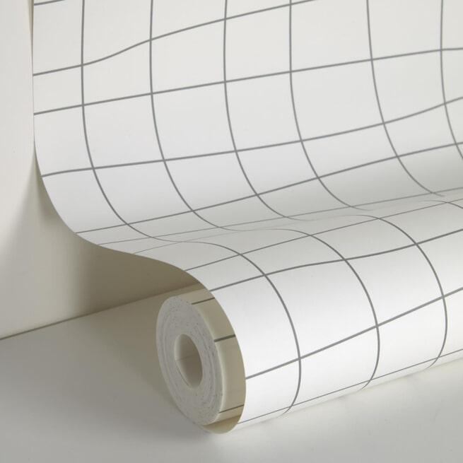 Kave Home Behang 'Saori', 100 x 53cm, Gridpatroon, kleur Wit