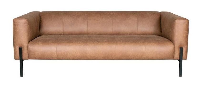 LABEL51 3-zits Bank 'Palermo' Leder, kleur Cognac