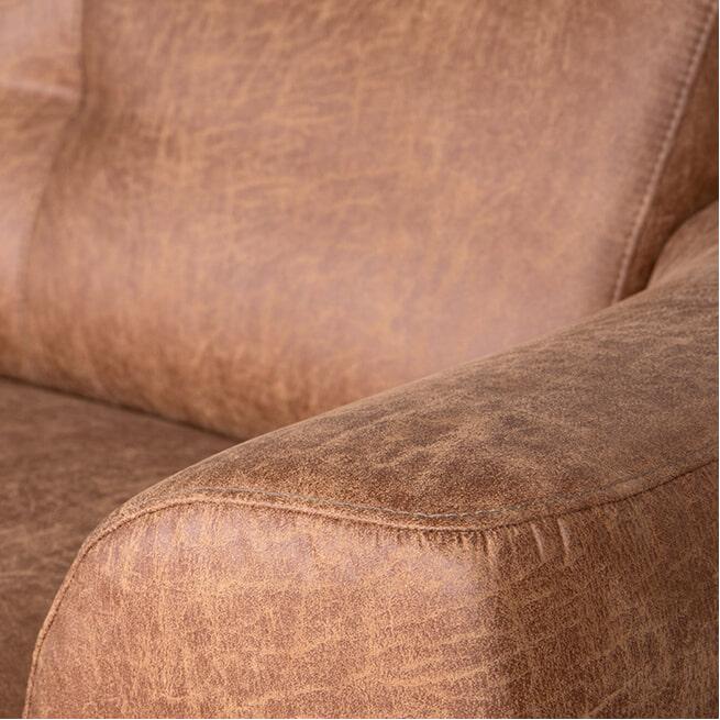LABEL51 3-zits Bank 'Salerno' Microfiber, kleur Cognac