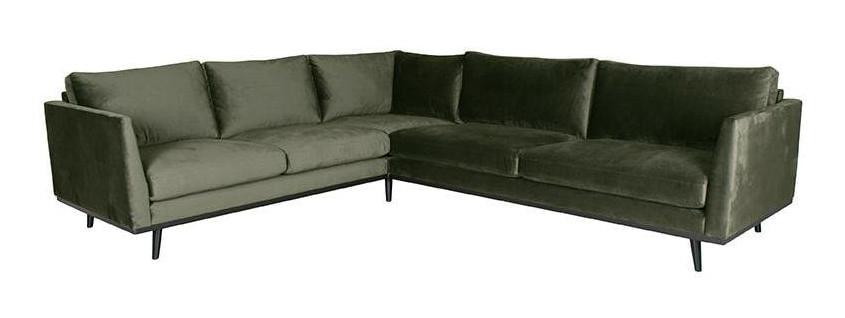 LABEL51 Hoekbank 'Siena' Velvet, 2-zits + hoek + 3-zits, kleur Groen