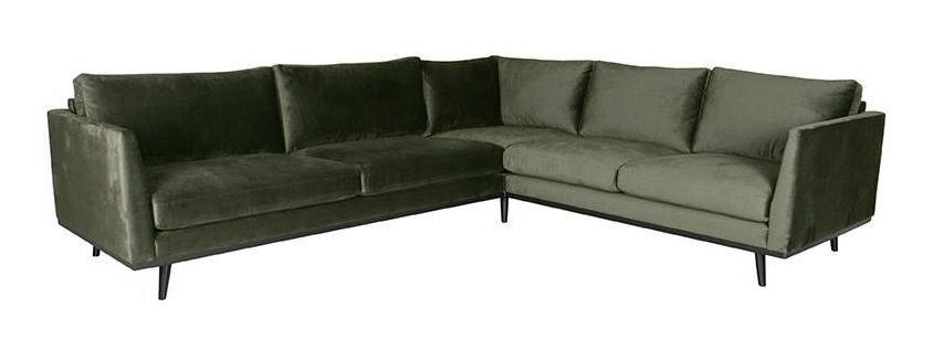 LABEL51 Hoekbank 'Siena' Velvet, 3-zits + hoek + 2-zits, kleur Groen