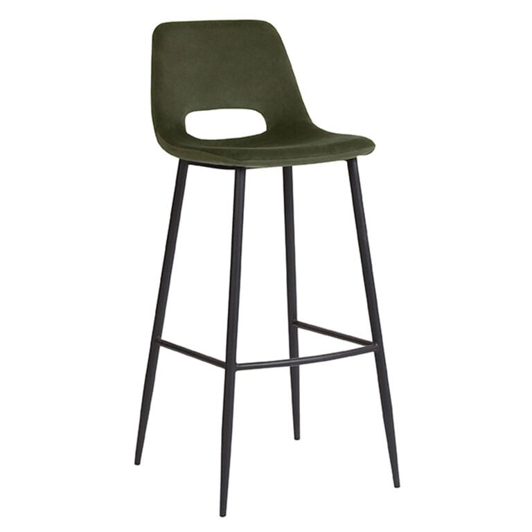 LABEL51 Barkruk 'Josh', Fluweel, 107cm, kleur Groen