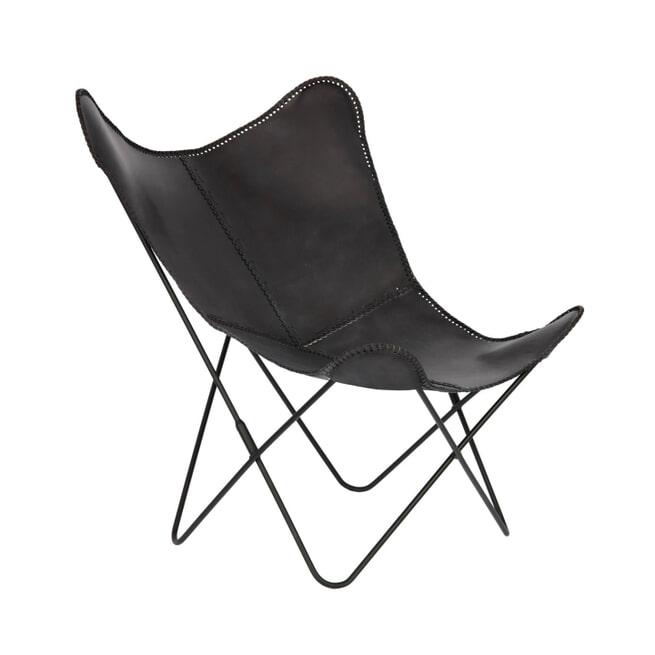 Kave Home Vlinderstoel 'Fly' Leder, kleur Zwart