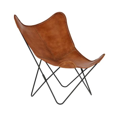 Kave Home Vlinderstoel 'Fly' Leder, kleur Cognac