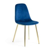 Kave Home Eetkamerstoel 'Yaren Gold' Velvet, kleur Donkerblauw