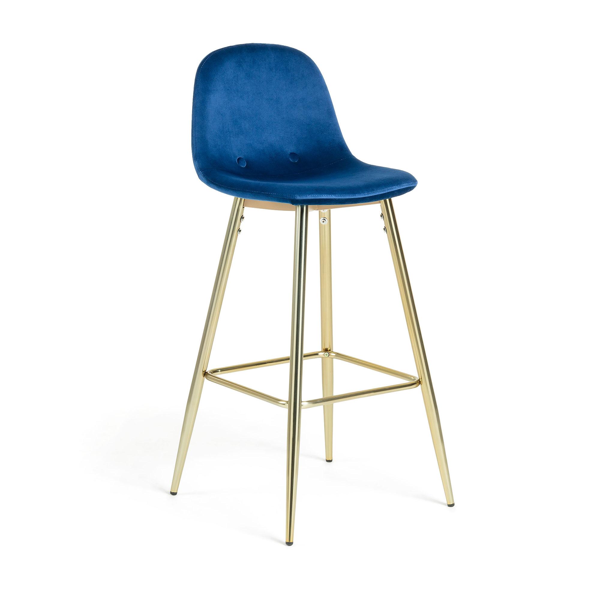 Kave Home Barkruk 'Nolite Gold' (zithoogte 75cm), kleur Donkerblauw