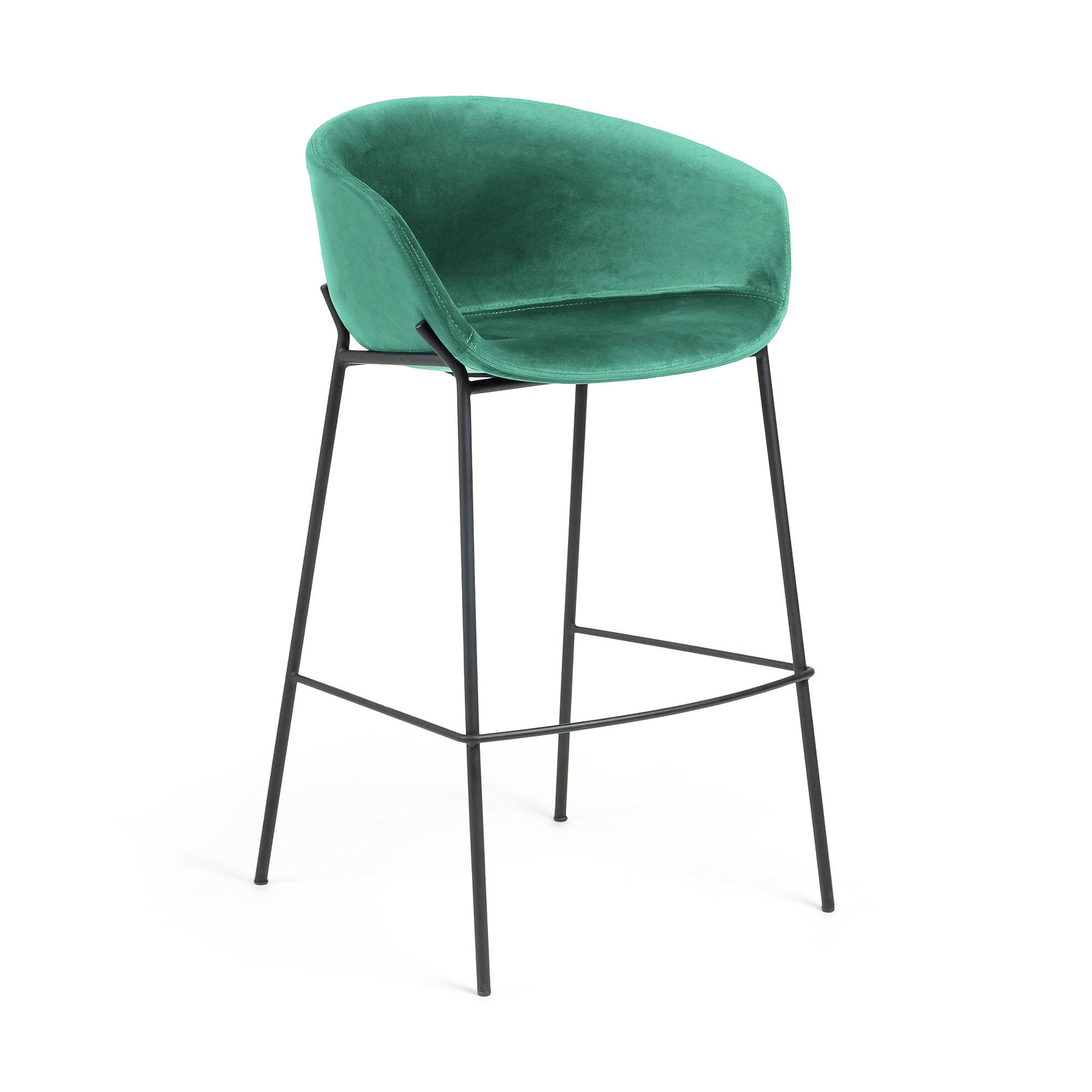 Kave Home Barkruk 'Yvette' Velvet (zithoogte 74cm), kleur Donkergroen