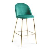 Kave Home Barkruk 'Ivonne Gold' Velvet (zithoogte 76cm), kleur Groen