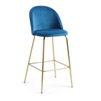 Kave Home Barkruk 'Ivonne Gold' Velvet (zithoogte 76cm), kleur Donkerblauw