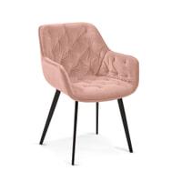 Kave Home Eetkamerstoel 'Mulder' Velvet, kleur Roze