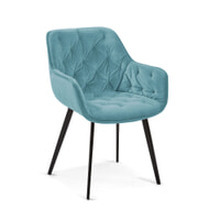 Kave Home Eetkamerstoel 'Mulder' Velvet, kleur Turquoise