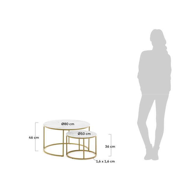 Kave Home Bijzettafel 'Leonor' Ø80/50cm, Set van 2 stuks