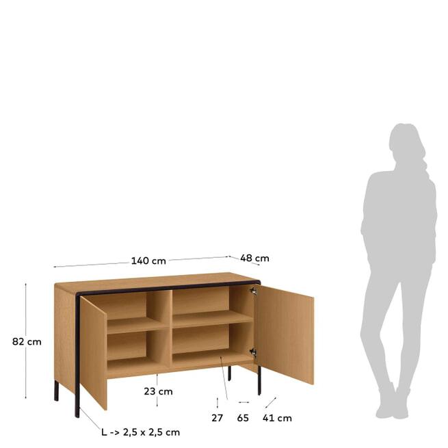Kave Home Dressoir 'Nadyria' Eiken, 140cm