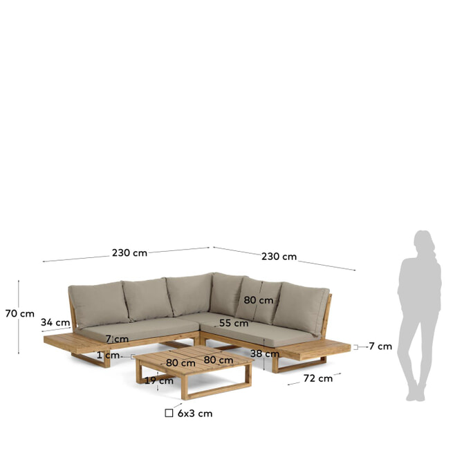 Kave Home Loungeset 'Flaviina' massief acaciahout