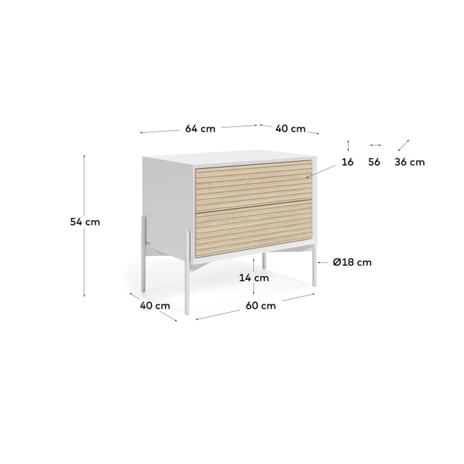 Kave Home Nachtkastje 'Marielle' Essenhout, 64 x 54cm