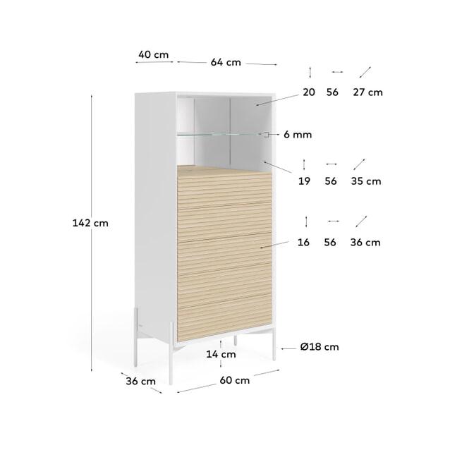 Kave Home Ladenkast 'Marielle' Essenhout, 142 x 64cm