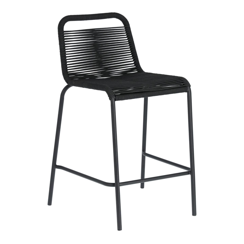 Kave Home Outdoor Barstoel 'Lambton' kleur Zwart (zithoogte 62cm)