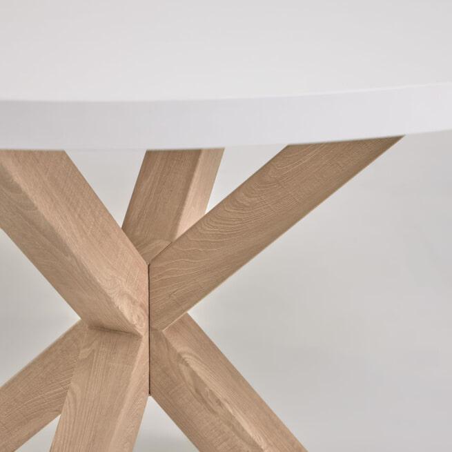 Kave Home Ronde Eettafel 'Argo' 120cm, kleur Wit/Naturel