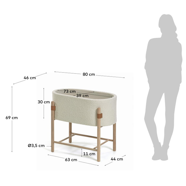 Kave Home Wieg 'Adara', 69 x 46cm, kleur Wit