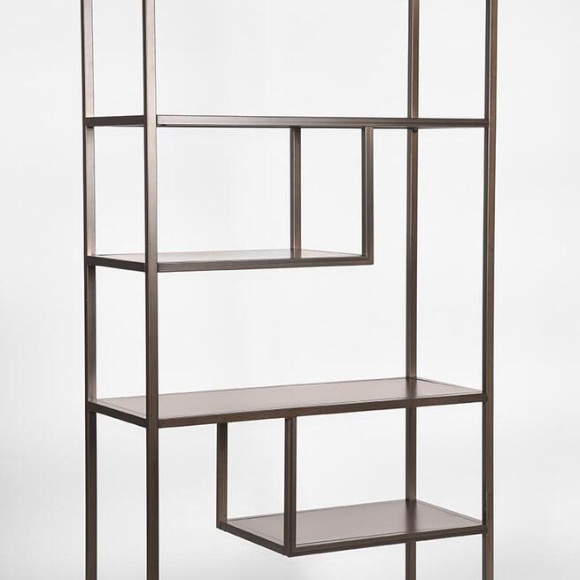 LABEL51 Boekkast 'Loft', Metaal, 87 x 35 x 182cm, kleur Grijs