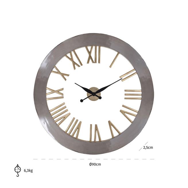 Richmond Klok 'Derex', 90cm, kleur Zilver/Goud