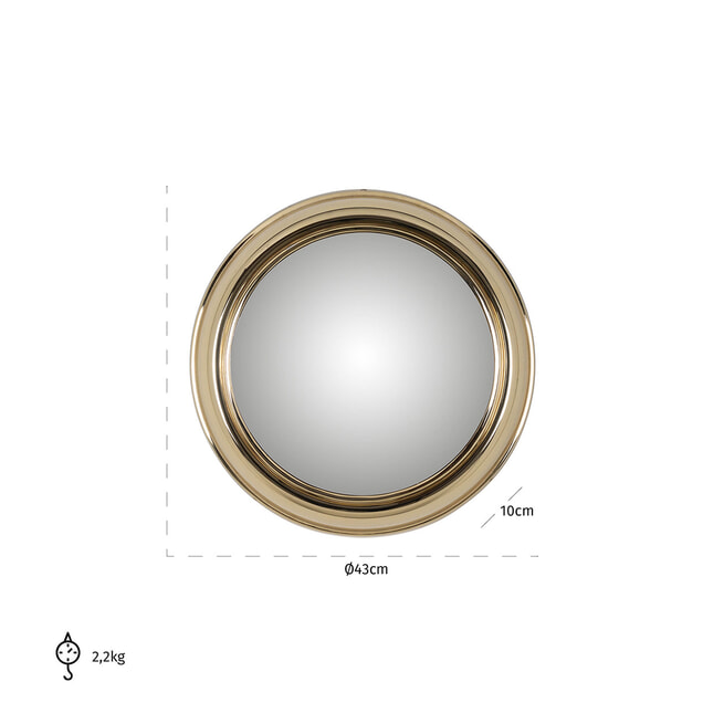 Richmond Spiegel 'Maloe' Ø 43cm, kleur Goud