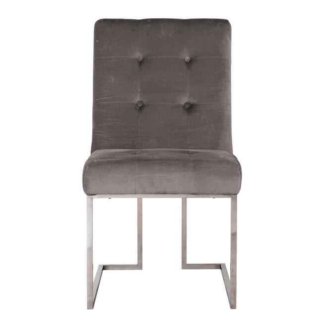 Richmond Eetkamerstoel 'Madison' Velvet, kleur Stone / Zilver