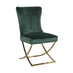 Richmond Eetkamerstoel 'Scarlett' Velvet, kleur Groen / Goud