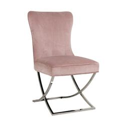 Richmond Eetkamerstoel 'Scarlett' Velvet, kleur Roze / Zilver