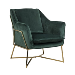Richmond Fauteuil 'Aurelia' Velvet, kleur Groen / Goud