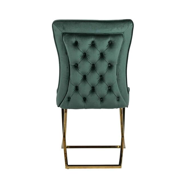 Richmond Eetkamerstoel 'Chelsea' Velvet, kleur Groen / Goud