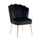 Richmond Eetkamerstoel 'Pippa' Velvet, kleur Zwart / Goud