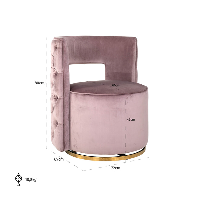 Richmond Fauteuil 'Jamie' Velvet, kleur Roze