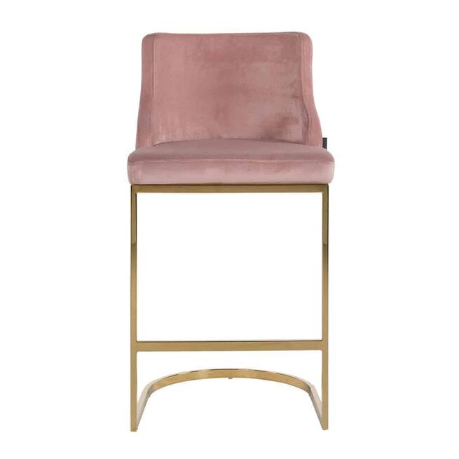 Richmond Barstoel 'Bolton' Velvet, kleur Roze / Goud (zithoogte 75cm)