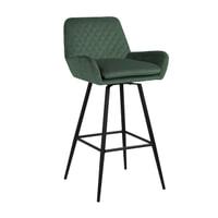 Richmond Barstoel 'Linsey' Velvet, kleur Groen (Zithoogte 75cm)