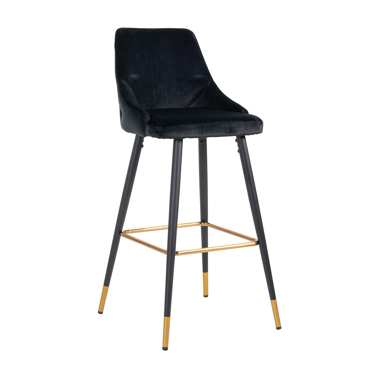 Richmond Barstoel 'Imani' Velvet, kleur Zwart (zithoogte 77cm)