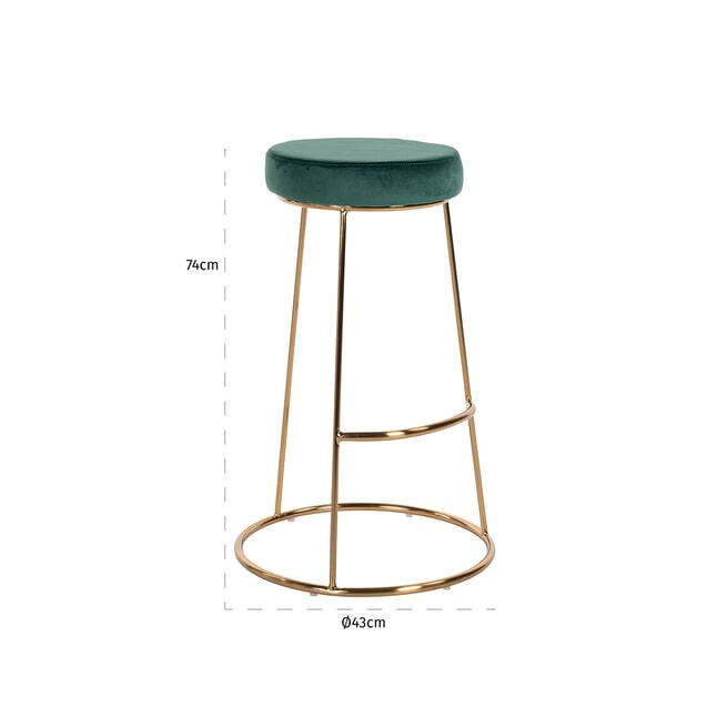 Richmond Barstoel 'Brandy' Velvet, kleur Groen (zithoogte 74cm)