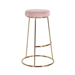 Richmond Barstoel 'Brandy' Velvet, kleur Roze (zithoogte 74cm)