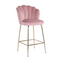 Richmond Barstoel 'Pippa' Velvet, kleur Roze (zithoogte 80cm)