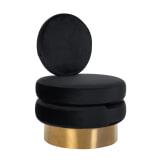 Richmond Fauteuil 'Balou' Velvet, kleur Zwart / Goud