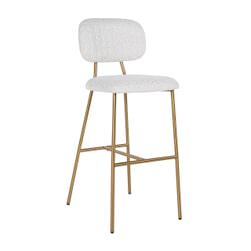 Richmond Barstoel 'Xenia' Bouclé, kleur wit (zithoogte 79cm)