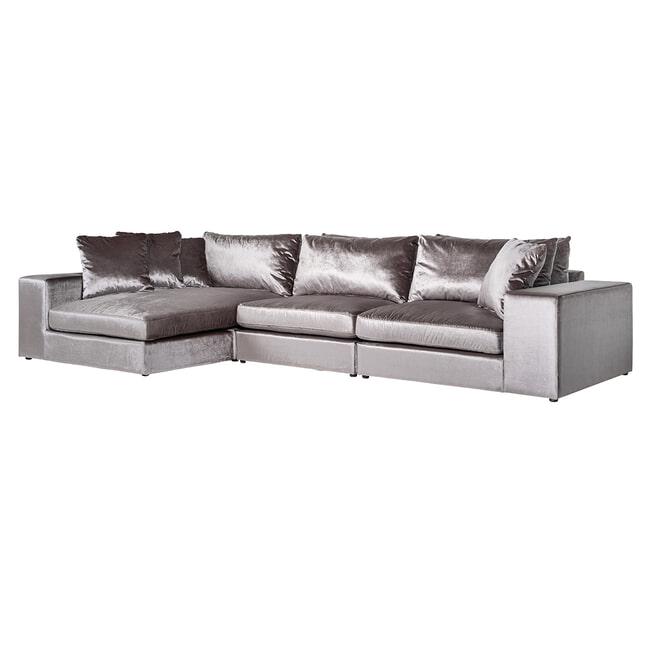 Richmond Bank 'Juniper', Velvet, 3-zits + Lounge, kleur Grijs