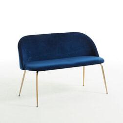 Kave Home Eetkamerbank 'Ivonne Gold' Velvet 120cm, kleur Donkerblauw