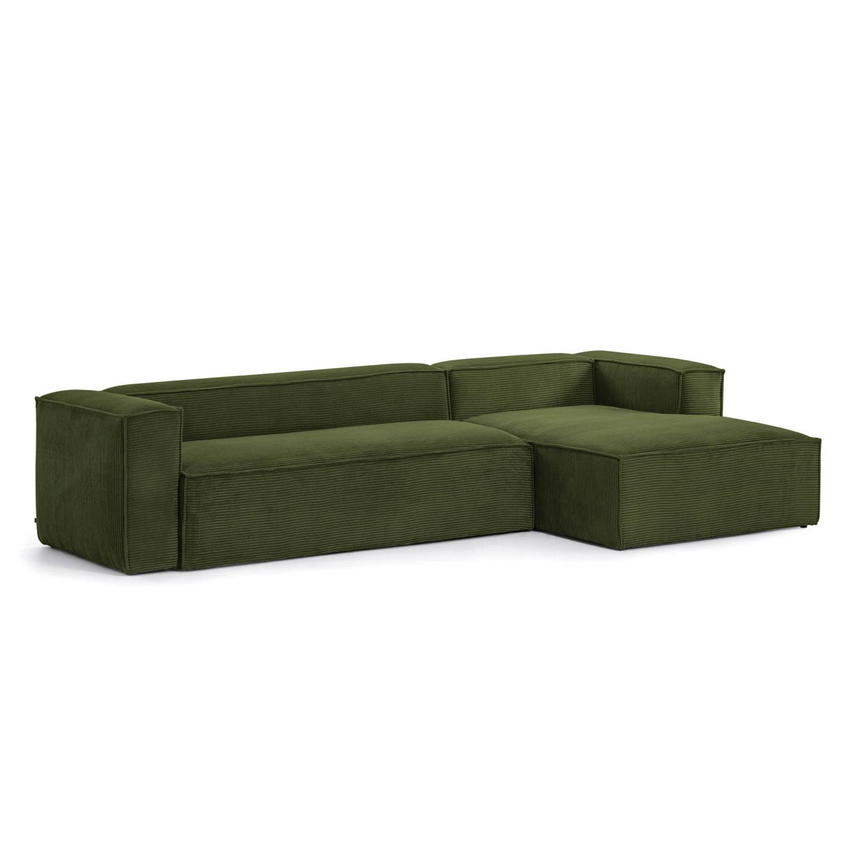 Kave Home Loungebank 'Blok' Rib, Rechts, kleur Donkergroen