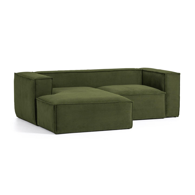 Kave Home Loungebank 'Blok' Rib, Links, kleur Donkergroen