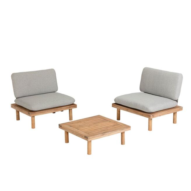Kave Home Loungeset 'Viridis' 2 fauteuils + 1 tafel, Acaciahout