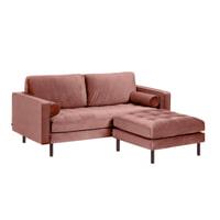 Kave Home 2-zits Bank 'Debra' met poef, Velvet, kleur Roze