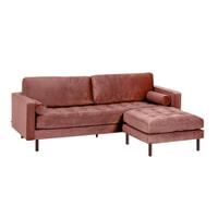 Kave Home 3-zits Bank 'Debra' met poef, Velvet, kleur Roze