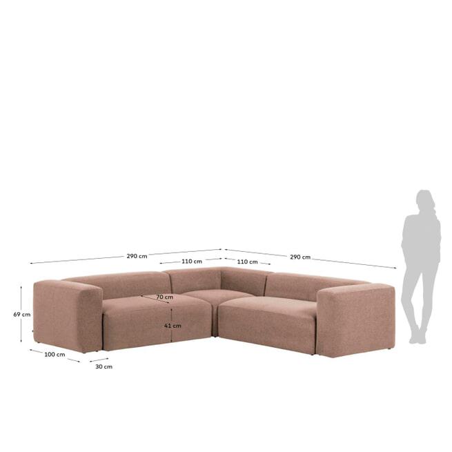 Kave Home 4-zits Hoekbank 'Blok' 290cm